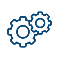 Works Comp Icon: two cogs working together