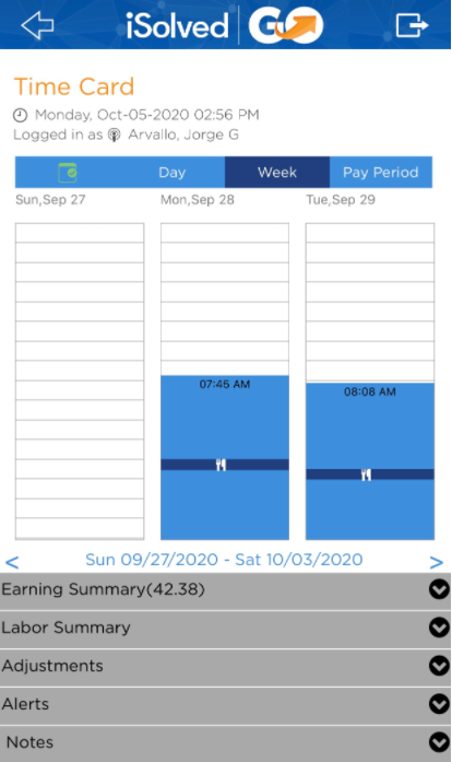 Mobile.timecard view