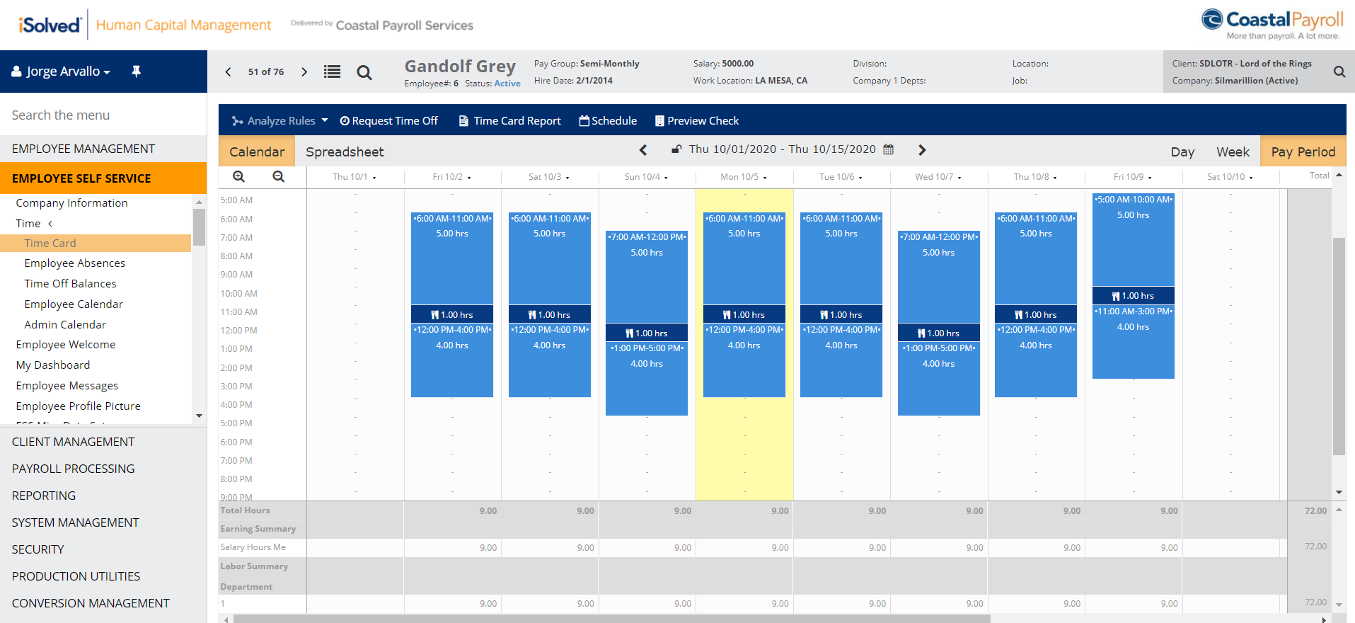 iSolved Timecard view